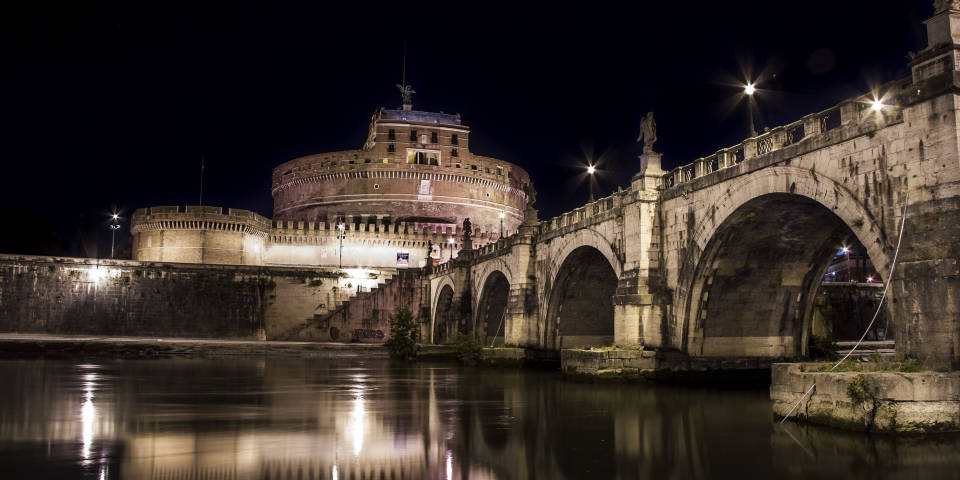 Castel St Angelo Architecture bridge at night