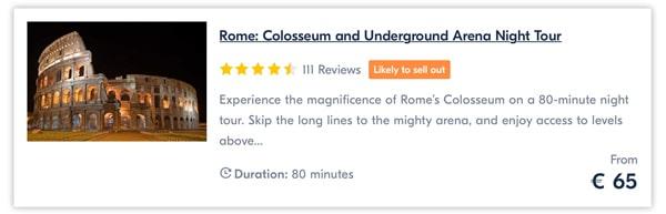 Colosseum and Underground Arena Night Tour price 65 euro