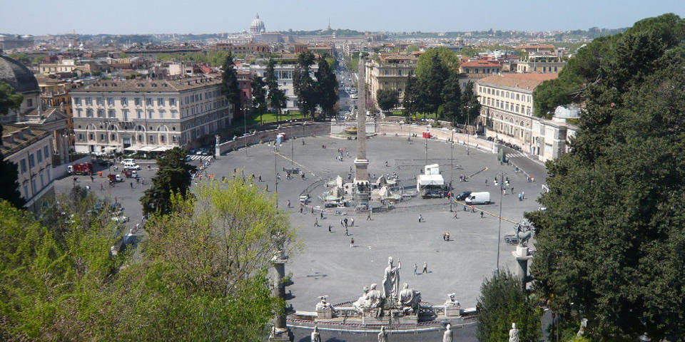 Piazza del Popolo on Pincian hill