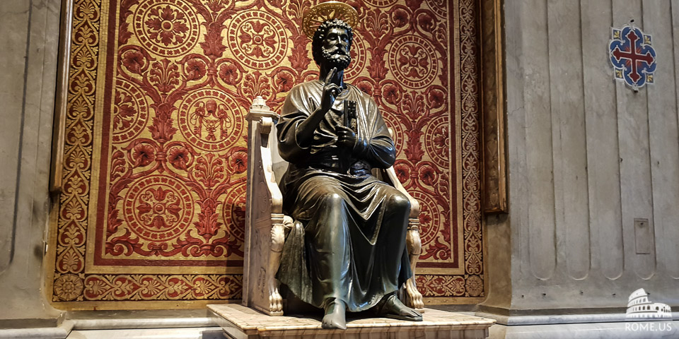 statue of St Peter in St Peter's Basilica in Vatican city