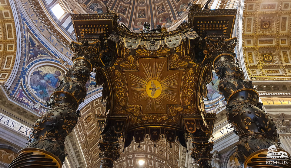 Baldachin of St Peter Basilica in Vatican city