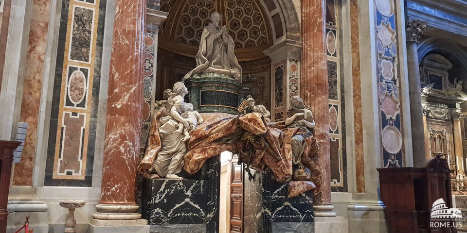The tomb of Pope Alexander VII in St Peter Basilica in Vatican city