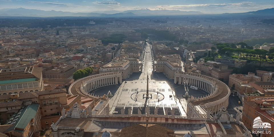 View from dome of St Peter Basilica in Vatican city