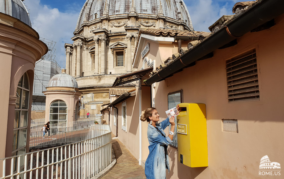 send a postcard from the dome of St Peter Basilica in Vatican city
