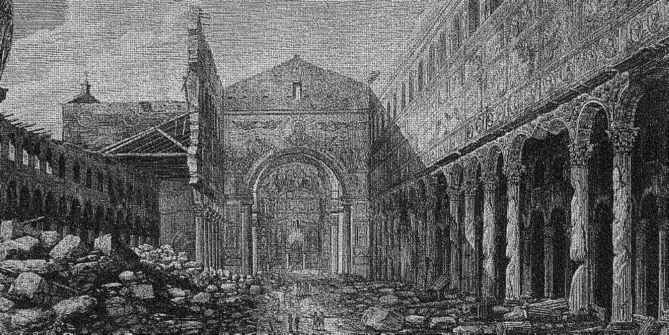St Paul Basilica in Rome fire