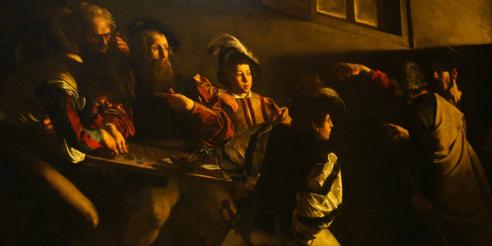 The Calling of St. Matthew painting by Caravaggio in Rome