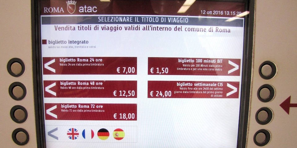 ticket machine in Rome