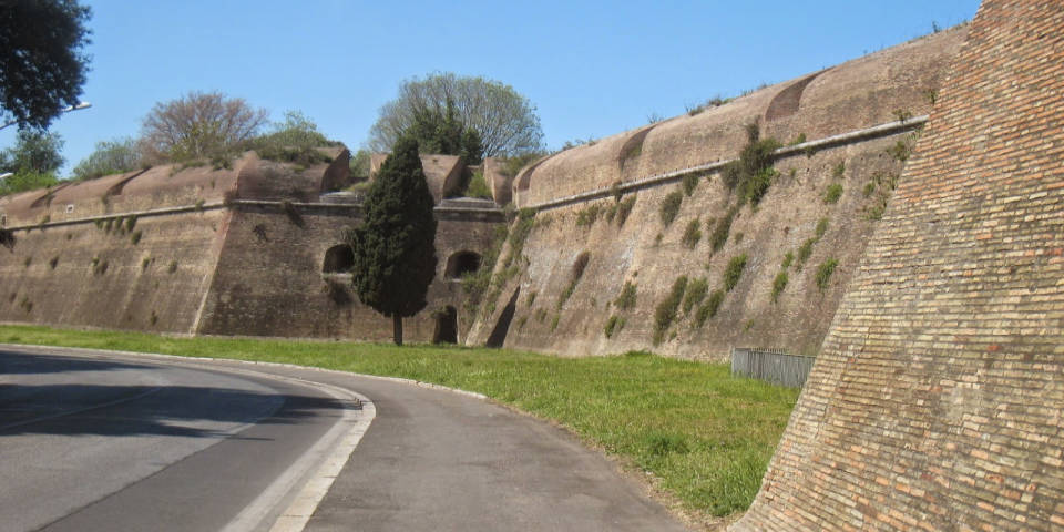 the Aurelian wall in Rome