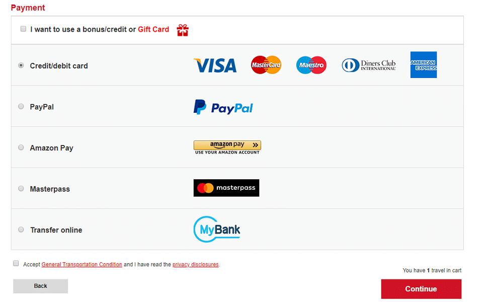 buy ticket trenitalia payment