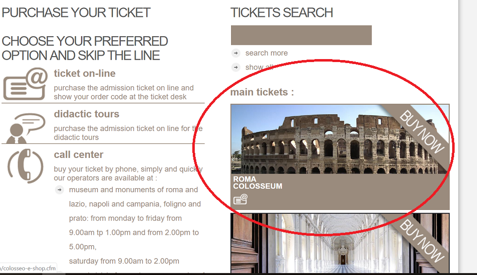how to purchase colosseum tickets
