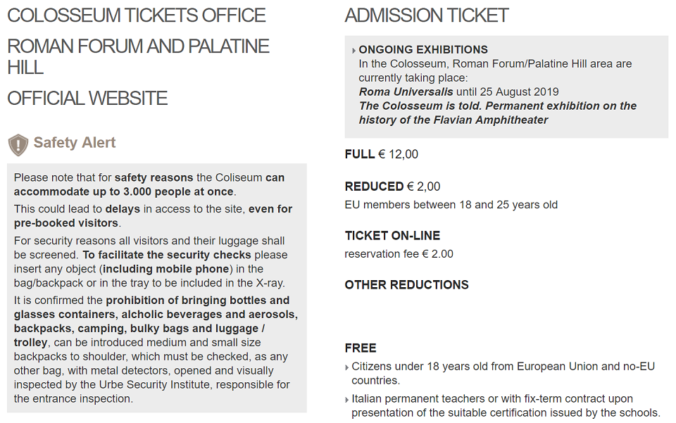 kinds of tickets to colosseum