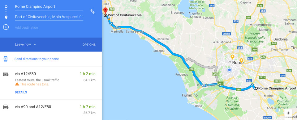 distance between the cruise port and Ciampino airport is 85 km
