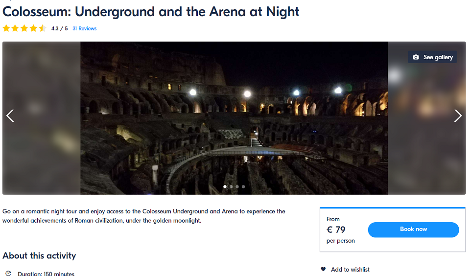 Colosseum at night group tour