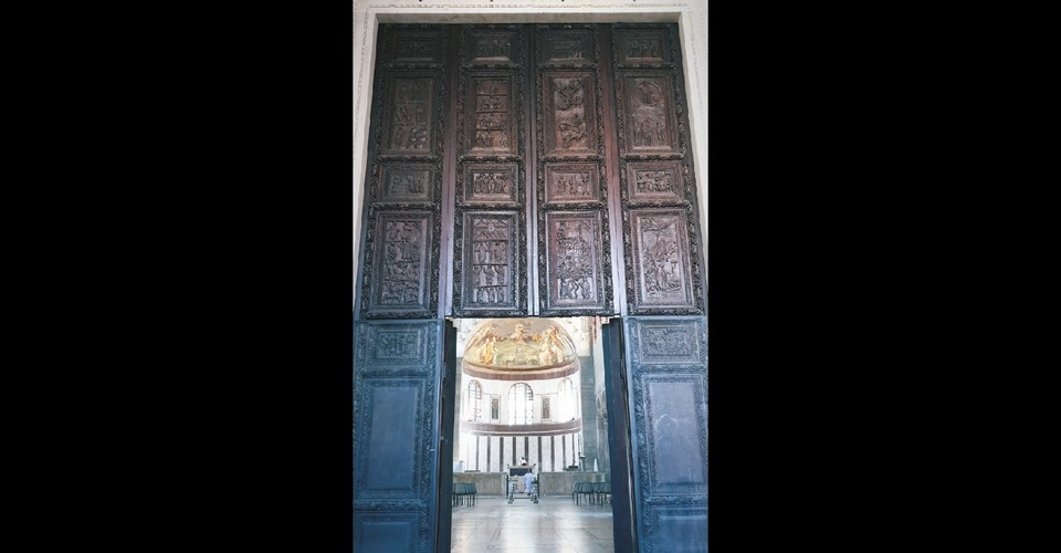 wooden door in santa sabina church