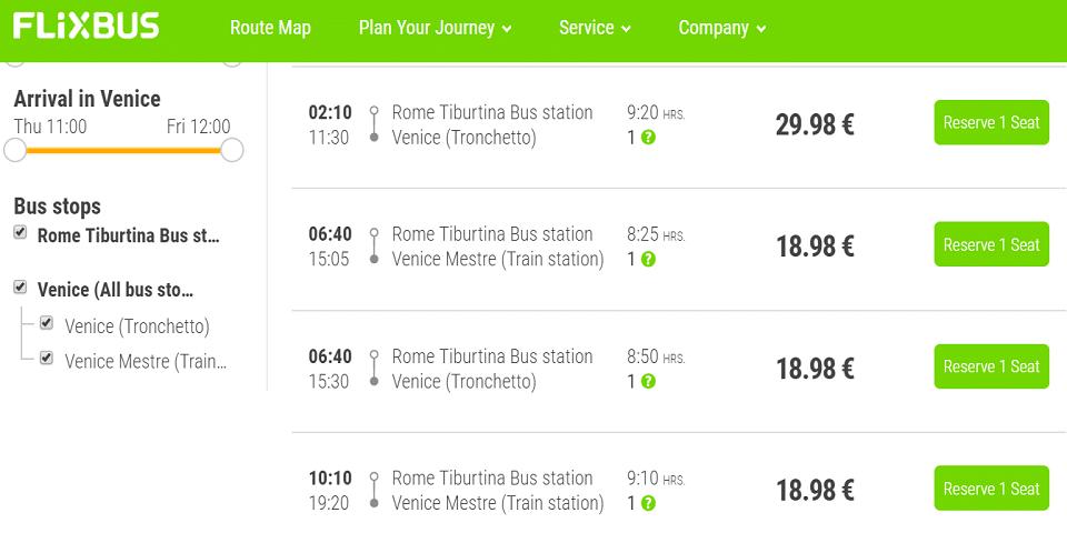 flixbus from rome to venice