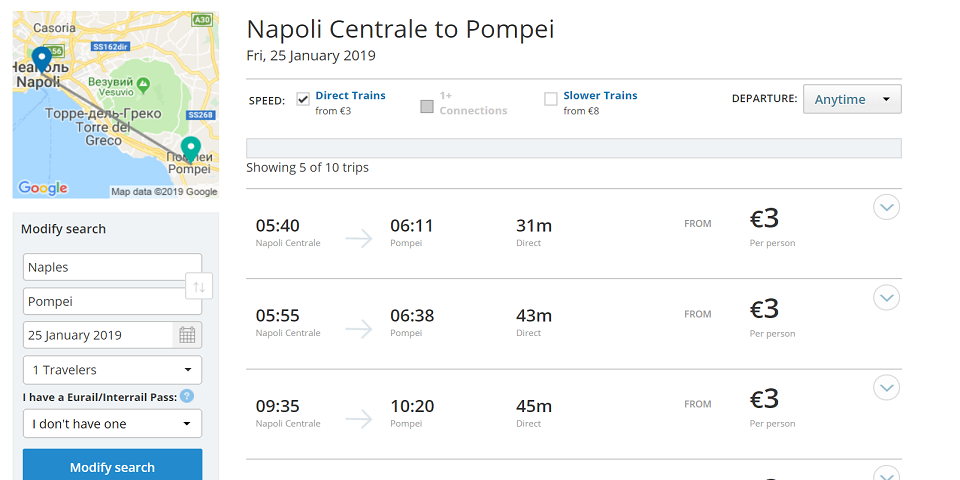 from naples to pompei train