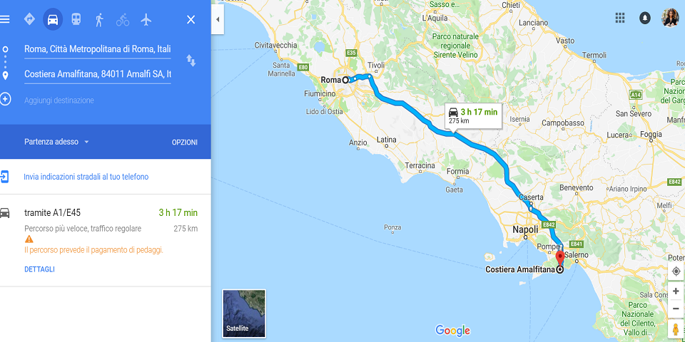 from rome to amalfi by car