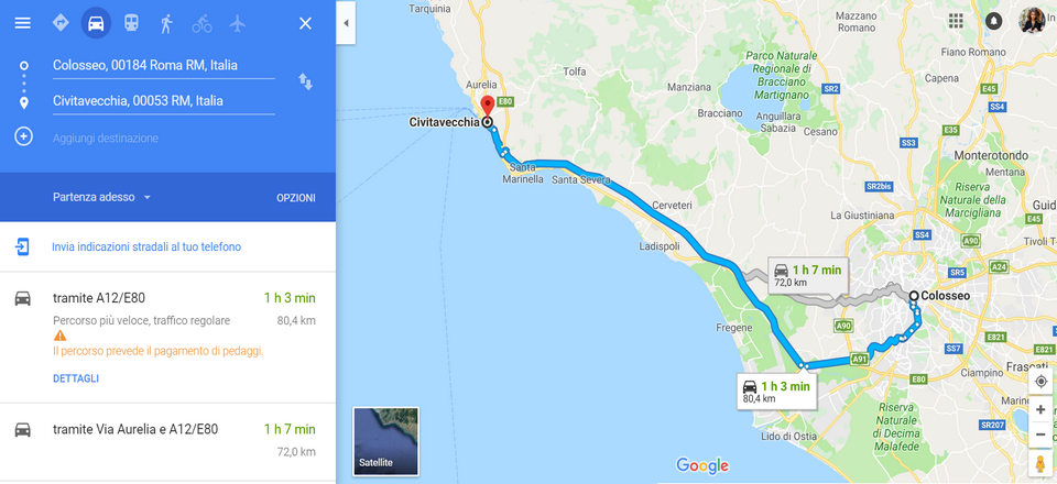 from rome to civitavecchia by car