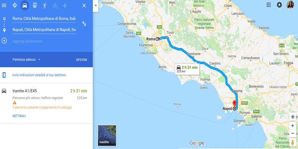 from rome to naples by car