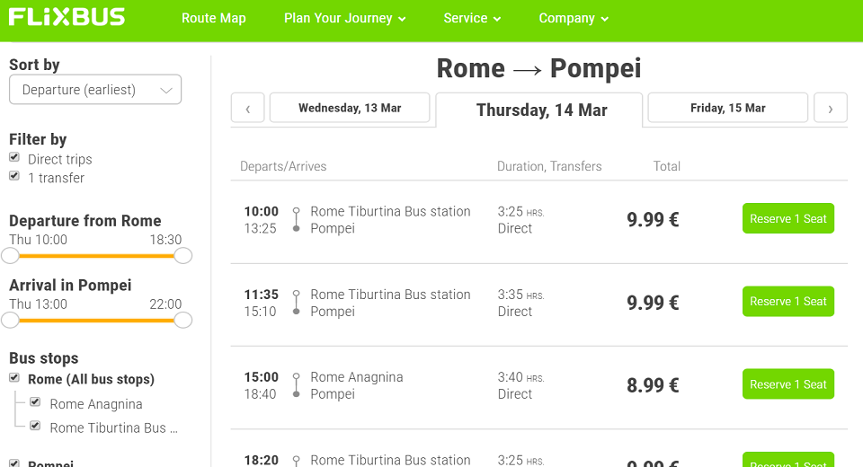 from rome to pompeii by bus