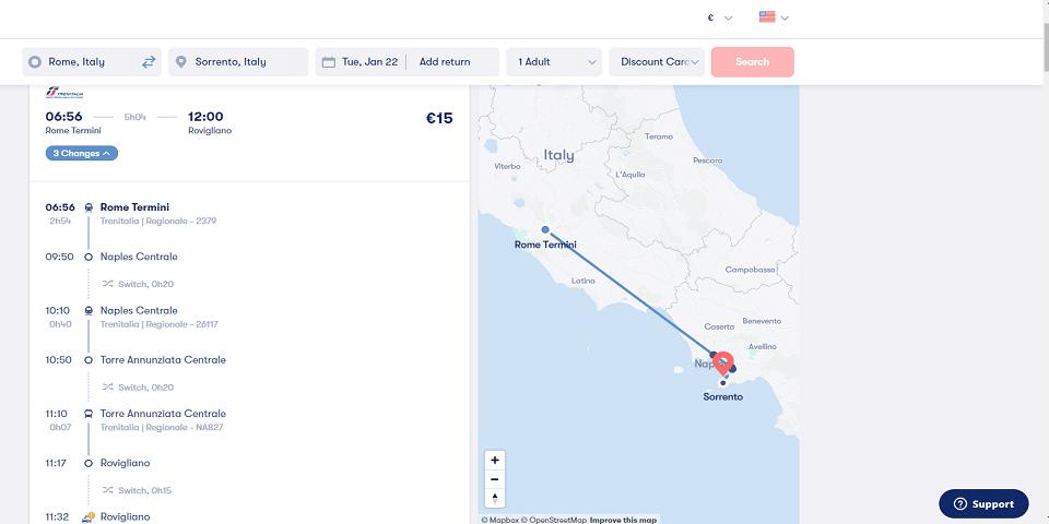 from rome to sorrento via salerno