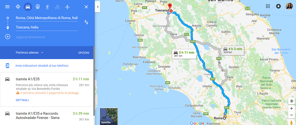 from rome to tuscany by car