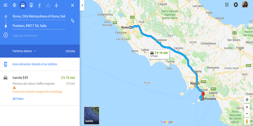 how to get from rome to positano by car