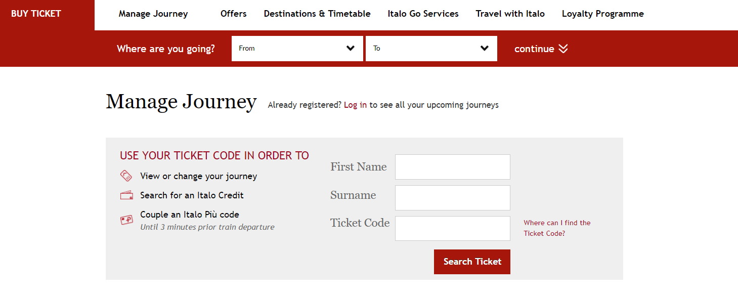 italo tickets manage journey