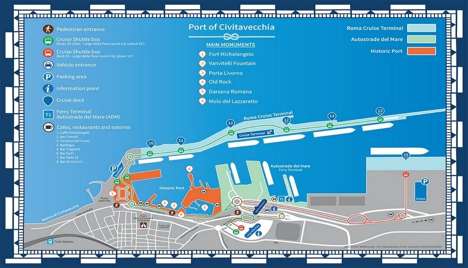 map of the rome civitavecchia port