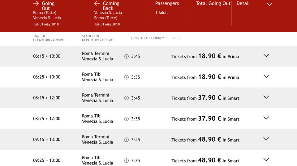 trains from rome to venice