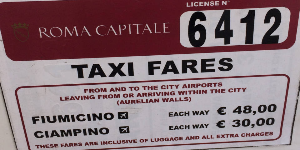 Set fares on taxi from airport in Rome