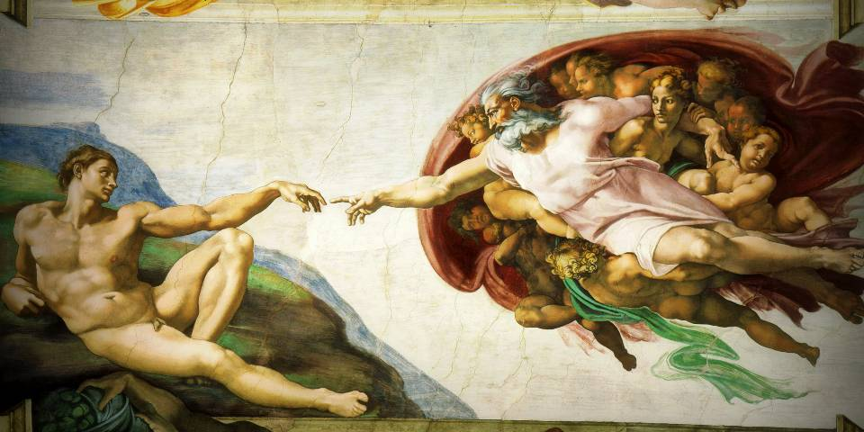 The creation of Adam in The Sistine chapel