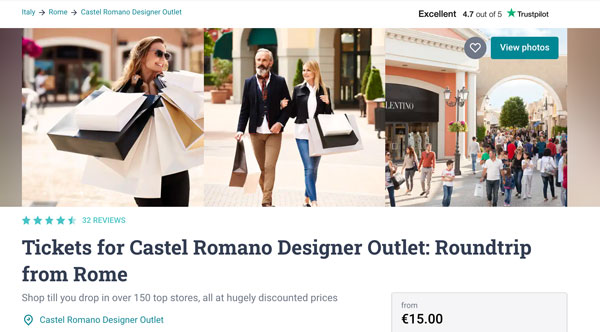 Tickets for Castel Romano Outlet from Rome