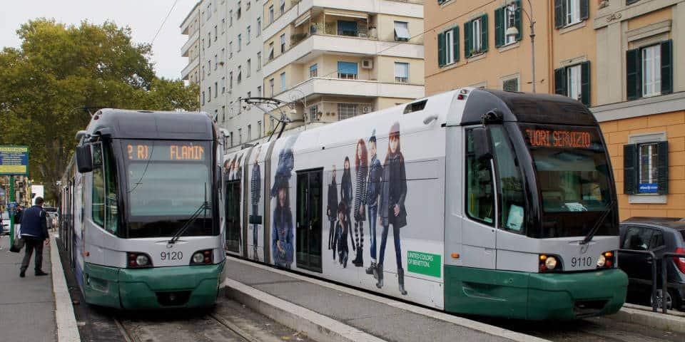 trams public transport in Rome